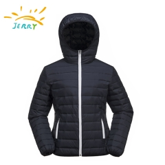 Women Padding Jacket With Non-detachable Hood and Elastic Hem and Cuff
